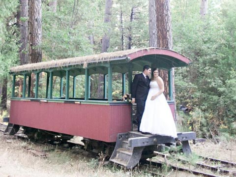nevada city ca hotel wedding lovely couple in train