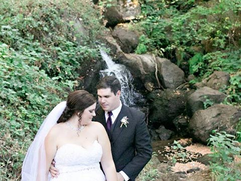 nevada city ca hotel wedding bride and group behind is waterfall